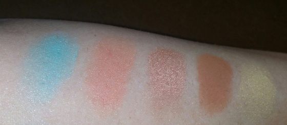 No Primer - L to R Aqua, Fresh Peach, Glisten, Caramel, Gold Bar