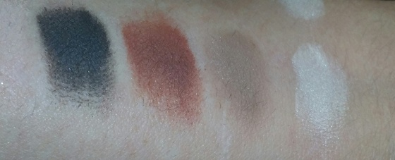 With Urban Decay Primer Potion - L to R Nude, Deep Brown, Sienna, Warm Taupe, Vanilla